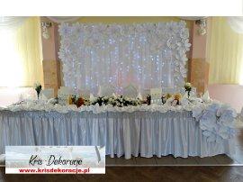 dekoracja sali w Cieklinie na biało